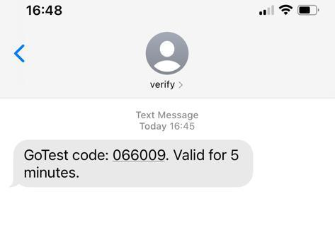 SMS containing PIN code