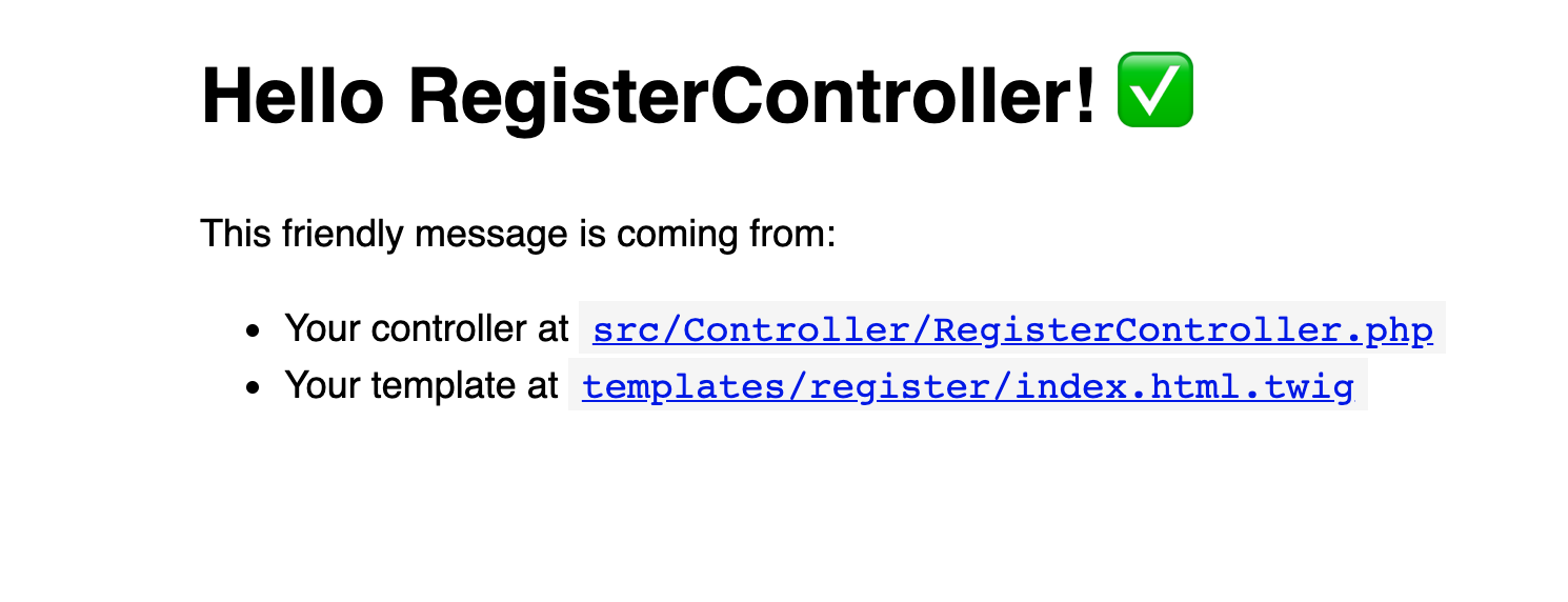 The view in a web page showing the default RegisterController output
